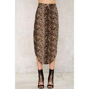 NWT Leopard Curve Skirt